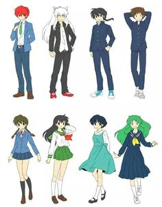 They are their uniform from different schools Old Anime, Anime Manga, Anime Nerd, Anime Life, Kagome And Inuyasha, Rurouni Kenshin, Kamisama Kiss, Anime Crossover, Cute Anime Couples