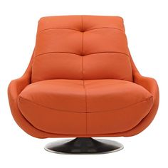 colorful modern club chairs   cowhide leather accent chairs with orange color silver legs and swivel ...