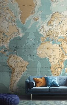 Create the ultimate feature wall in your home with this beautiful map wallpaper mural. The muted shades of blue and brown give this living room a vintage luxe feel. World Map Wallpaper, Travel Wallpaper, Wall Wallpaper, Wallpaper Bedroom Vintage, Seaside Wallpaper, Wallpaper Ideas, Color World Map, Casa Milano, Feature Wall Bedroom