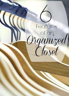 6 Features of an Organized Closet | Tipsaholic.com #home #organization #closet Wardrobe Organisation, Organization Station, Home Organization Hacks, Organizing Your Home, Closet Organization, Organising, Organizing Tips, Organizar Closets, How To Organize Your Closet