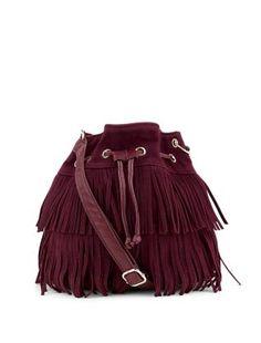 Petit sac bourse violet en suédine à franges | New Look