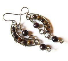 Boho Earrings  Bohemian Jewelry  Tigers Eye and by DistortedEarth, $22.00