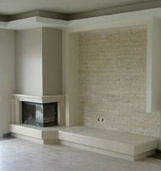Home Fireplace, Modern Fireplace, Fireplace Design, House Ceiling Design, House Design, Corner Log Burner, Stone Wall Living Room, Casa Art Deco, Boston House