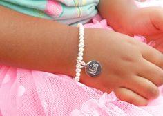 Little Girl Freshwater Pearl Engraved Bracelet Sterling by GEHATI