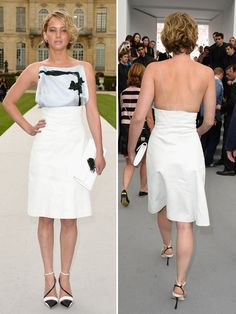 2014 - Jennifer Lawrence Wows In White At The Dior Haute Couture Show   HollywoodLife.com