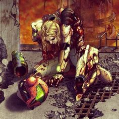 """Artwork: """"Down, but not out (artist unknown) #artwork #Metroid ..."""
