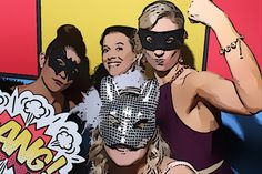 Comic book style photo booth backdrop and photo booth strips | The Photo Booth Guys