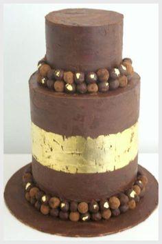 metallic gold leaf and chocolate cake - yum!
