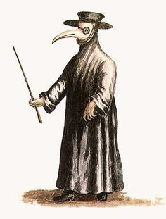 """Uniform of doctors tending patients during the outbreaks of bubonic plague; the """"beak"""" kept them from breathing in infected air, hence the phrase a """"quack doctor."""""""