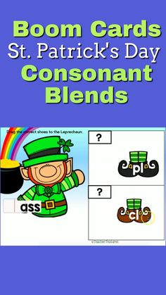 St. Patrick's Day Fun! Assess 1st grade consonant blends (L Blends, S Blends and R Blends). knowledge with digital Boom Cards full of movable pieces to manipulate, then type the correct answer. Perfect as a literacy centers or word work center, review or enrichment. #boomcards #1stgrade #teacherfeatures #boomcardsphonics #firstgradephonics #literacycenter1stgrade #stpatricksdayactivities #technologyintheclassroom #consonantblends #blendsactivities #tpt #boomlearning #tpt Teaching Materials, Teaching Tools, Teaching Resources, Classroom Resources, Learning Activities, 2nd Grade Classroom, First Grade Teachers, Word Work Centers, Literacy Centers