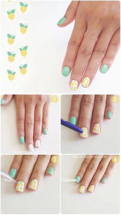 Pintar limones en tus uñas - Paso a paso - http://xn--pintaruas-r6a.net/pintar-limones-en-tus-unas-paso-a-paso/