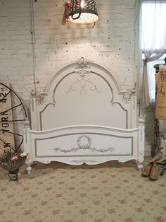 Painted Cottage Chic Shabby Oyster Queen Romance Bed | eBay