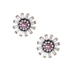 """Baguette Flower Studs  $35.00 / Item # E090G  Vintage casted baguette flower studs with a dark rose pearl surrounded by clear crystal accents. Post closure with c+i bullet clutch.    brass ox plated  nickel-free  0.75"""" diameter  hypo-allergenic surgical steel posts and c+i bullet clutch  dark rose pearl #candigardenparty"""