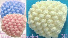Gorro a Crochet en punto 3D copos o bolas de nieve tejido tallermanualperu - YouTube