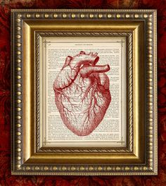 Vintage Book Page Art Print RED HEART recycled by EncorePrints, $10.00