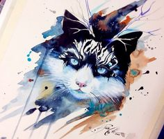 Bad Kitty watercolor painting by Pixie Cold
