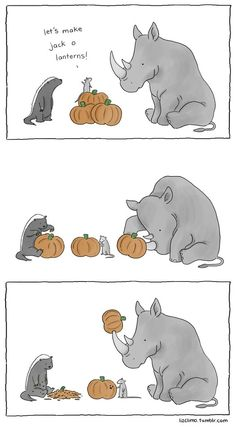 lizclimo: Skunk, mouse & rhino carving jack-o-lanterns.