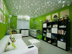 This nursery features a starry ceiling, created by fiber-optic LED lights installed in the crawl space.