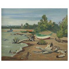 Yves Brayer. Barques et souches au petit Rhône, Camargue, painting | @1stdibs | Expertissim