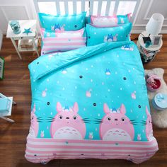 Cute cartoon cat bed sheet set 4 pieces