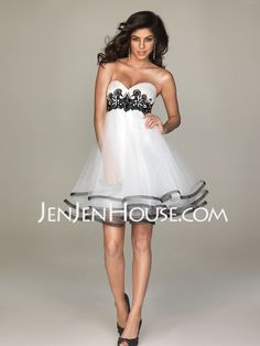 Evening Dresses - $133.99 - A-Line/Princess Sweetheart Short/Mini Organza  Satin Evening Dresses With Lace  Sash  Beading (017004354) http://jenjenhouse.com/A-line-Princess-Sweetheart-Short-Mini-Organza--Satin-Evening-Dresses-With-Lace--Sash--Beading-017004354-g4354