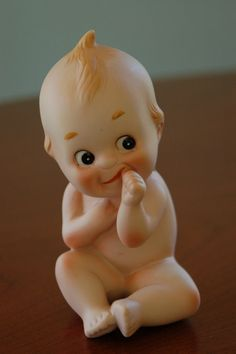 Collectible Porcelain Bisque Kewpie Doll with Blue Wings, Lefton - SOLD!