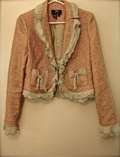 vintage boucle peach and sage green jacket, fall wardrobe fashion, fall fashion jacket via Etsy.