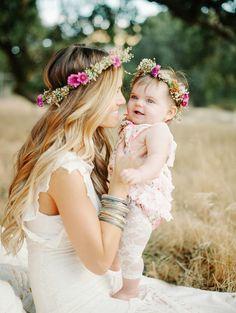boho bride and baby