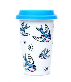 White Blue Birds Tumbler love this