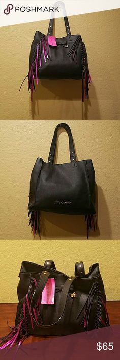 Betsey Johnson Fringe Bag NWT Nice roomy bag with snap closure. No side pockets. Two interior slip pockets and one interior zip pocket. Fully lined. Betsey Johnson Bags Totes