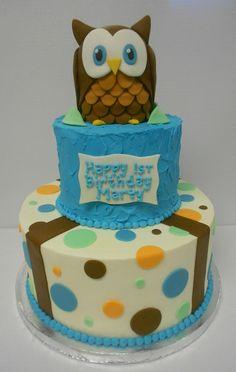 Owl themed 1st birthday cake