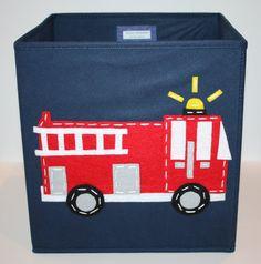 Toy Storage Storage Basket Storage Bin Firetruck by KissyMonster, $25.00