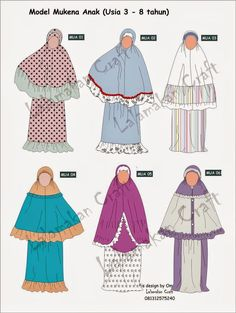 Creativity Tutorial: Pesan Pola Mukena Muslim Women Fashion, Kids Fashion, Fashion Design, Sewing Clothes, Diy Clothes, Abaya Fashion, Fashion Dresses, Dress Patterns, Sewing Patterns
