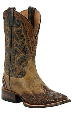 Stetson Mens Colton Maddog with Tan Brown Tooled Wingtip Square Toe Western Boots