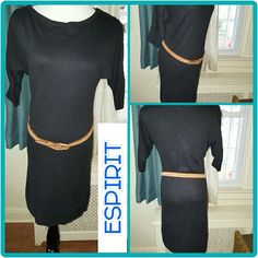 VtG Fab Espirit Batwing black dress S- M This is the most amazing little dress with a drop armhole measurements under the pit are going to be a little bit bigger than normal. It measures 16 inches shoulder to shoulder, 19 inches pit to pit, and is 34 inches long. This is unstretched. The tag does say small although this may accommodate a medium as well. This is a great dress that could also be worn as a tunic with leggings. Cotton sweater material. Vintage Espirit Dresses