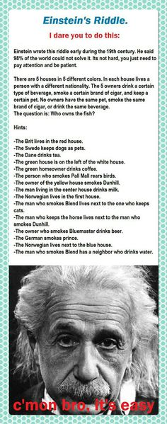 The Einstein's Riddle  // funny pictures - funny photos - funny images - funny pics - funny quotes - #lol #humor #funnypictures
