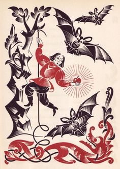 Vera Bock's illustrations for A Ring and a Riddle by M. Ilin and E. Segal, published in 1944