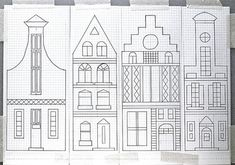 Dutch Canal Houses Embroidery pattern on graph paper