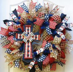 Patriotic Wreath 4th of July Wreath Patriotic by PinkBluebonnet