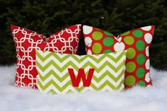 Yay for Christmas!!!!!!  Holiday Pillow Cover Trio  Red and Green  Free Shipping by nest2impress,