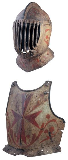 A rare Italian painted helmet, celata di ferro, and matching breast-plate, petto di corsaletto di ferro, for the Gioco del Ponte, Pisa, 17th century with characteristic 18th century alterations. The helmet with two-piece skull formed with a low flattened comb, the latter reinforced by a group of four transverse rivets spaced over much of its length, fitted with iron plume-holder, a single neck lame on a separate flanged base-plate.