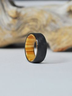 Carbon Fiber and Olivewood ring Wood Wedding by WoodmanRingcraft