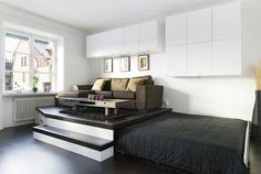 This same article also slides a bed under a raised floor in a small apartment, creating a pull out bed and sunken room at the same time. Description from pinterest.com. I searched for this on bing.com/images