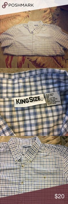 Men's king size polo Men's king size plaid polo. Perfect condition. Worn once. Short sleeve dress shirt. Runs big King Size Shirts Casual Button Down Shirts