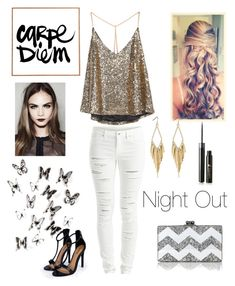 Night Out by stellabear0627 on Polyvore featuring polyvore, moda, style, VILA, Boohoo, Edie Parker, Lancôme, Umbra, SkinCare, fashion and clothing