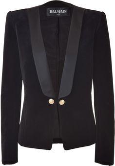 BALMIAN || Obsidian Velvet Tuxedo Jacket