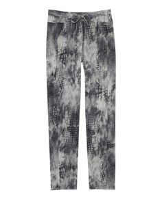 Loose snake-print silk trousers. They feature an elasticated waistband with a drawstring. The Kooples £175