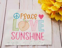 Peace, Love, & Sunshine Sketch Embroidery Design 3 SIZES Embroidery Files, Machine Embroidery, Embroidery Designs, Design Files, My Design, Peace And Love, Sunshine, Sketch, Sew