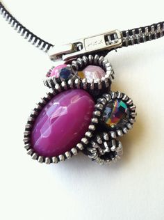 Pink Stones Zipper Necklace by ArtologieDesigns on Etsy, $55.00