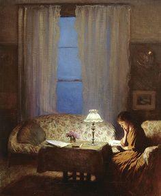 Twilight: Interior, Reading by lamplight, ca 1909, Sir George Clausen. English Realist Painter (1852 - 1944)